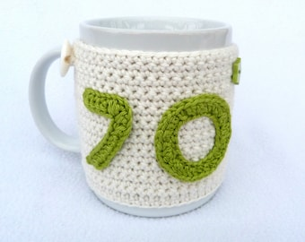 Handmade, 70th Birthday cream crochet mug cosy. Homewares, birthday gift, accessories, 70th birthday gift, crocheted, cup cosy, coffee cosy