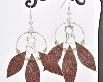 Fox hoop earrings, Peridot and leather loop