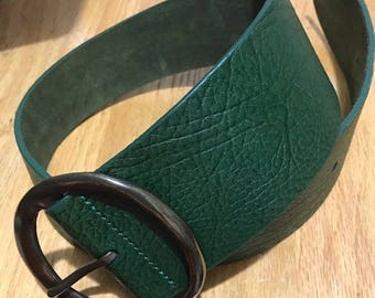Vintage Women Belt, Women's Accessories, Genuine Leather, Green Wide Belt, Big Buckle,  Fit Small and Medium