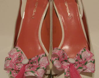 Flamingo pink shoe bow Lilly fabric inspired shoe accessories with white buttons and hot pink tassels