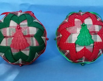Quilted Christmas Ornaments - Red, Green and Plaid