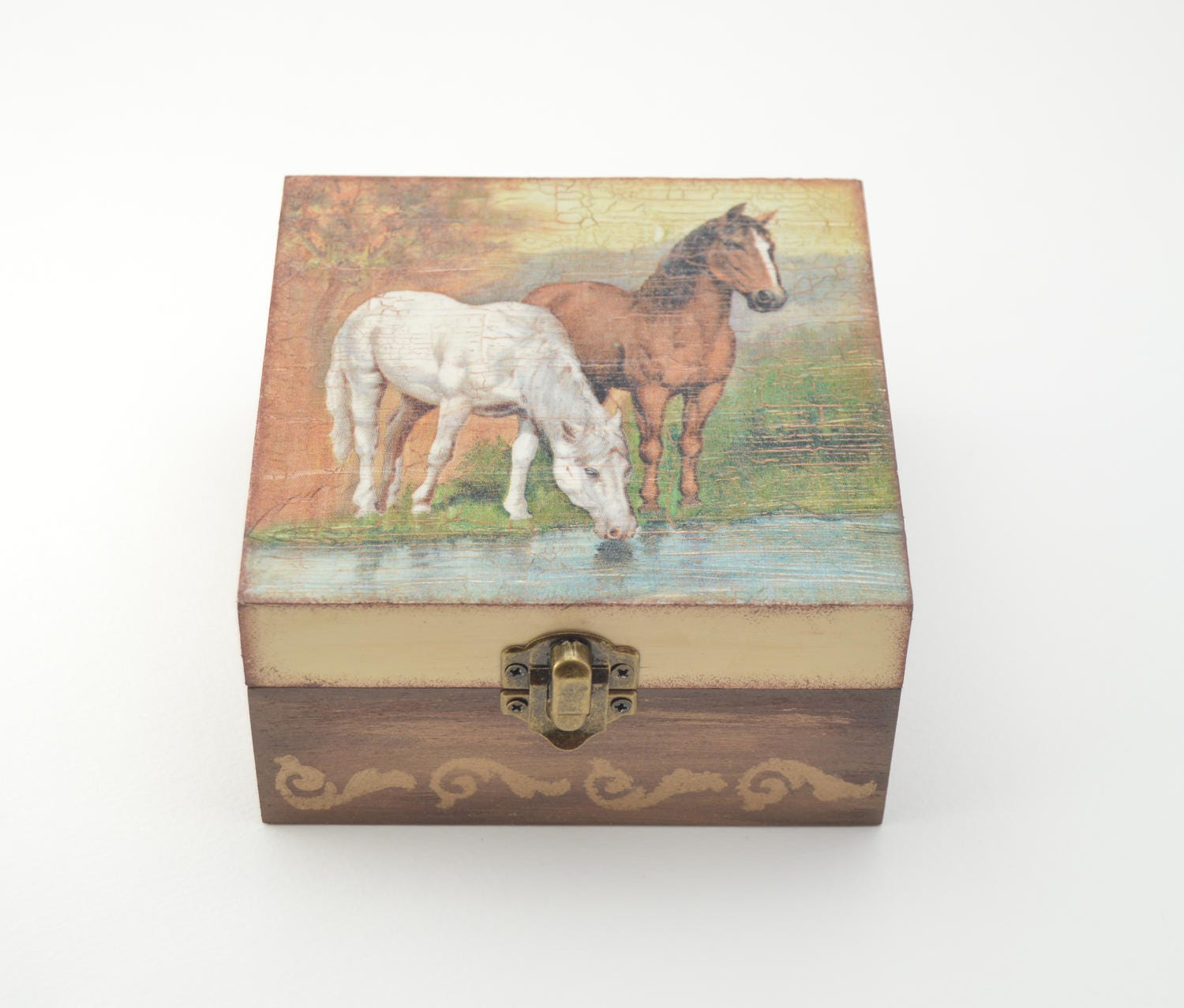 Horses to the water wooden jewelry box horses jewelry box