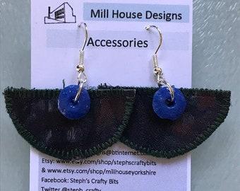 African fabric earrings, fabric earrings, lightweight earrings