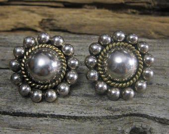 TAXCO 'Laton' STERLING pierced EARRINGS, silver & brass, nice weight, beautiful design.  Vintage wearable art.