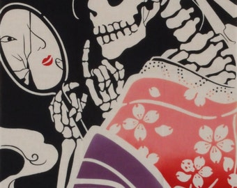 Skeleton Fabric Tenugui Cloth 'Surreal Geisha' Cotton Japanese Geisha Fabric w/Free Insured Shipping