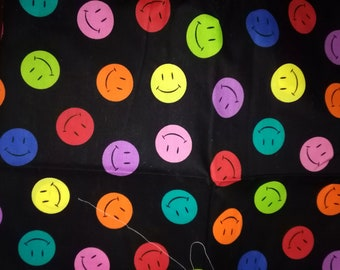 Happy Colorful Smiley Faces Cotton Fabric