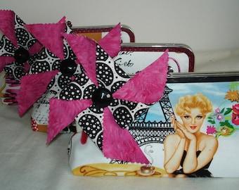 Black and Pink Bridesmaid Clutch / Bridesmaid Gift / Funky Handbag / Pinwheel Wedding