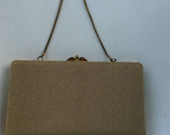 1960's vintage handbag - Gold evening purse with chain - small chic handbag