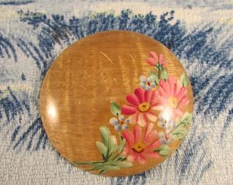 1950s hand-painted Oregon Myrtlewood souvenir brooch