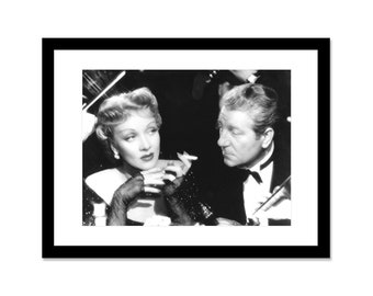 Black and white photo of Jean Gabin and Marlène Dietrich