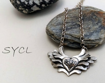 Happy Wings Silver Necklace.Handmade Item. 99% Sterling Silver Necklace.Original and Exclusive Design.Artisan Handmade by SYCL.