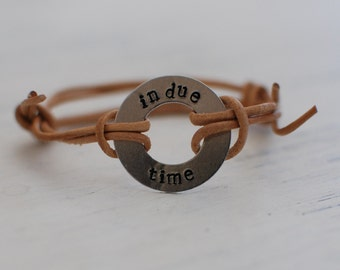 In Due Time, leather wrap bracelet