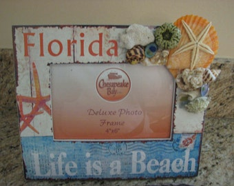 Florida Picture Frame With Shells