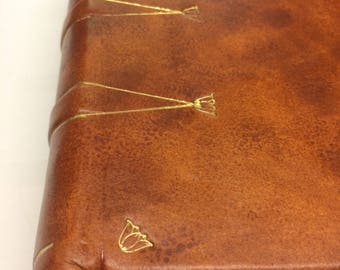 Antiqued hide leather bound journal / diary/ writing book