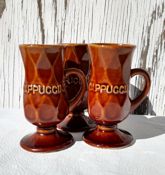 Vintage 1970's Brown Drip Ceramic Cappuccino Cups - Set of 3