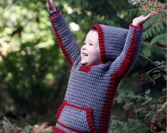 Crochet hoodie  pattern, crochet childrens sweater, boys hoodie, girls hoodie, hooded vest for children, crochet, easy pattern, zipper or