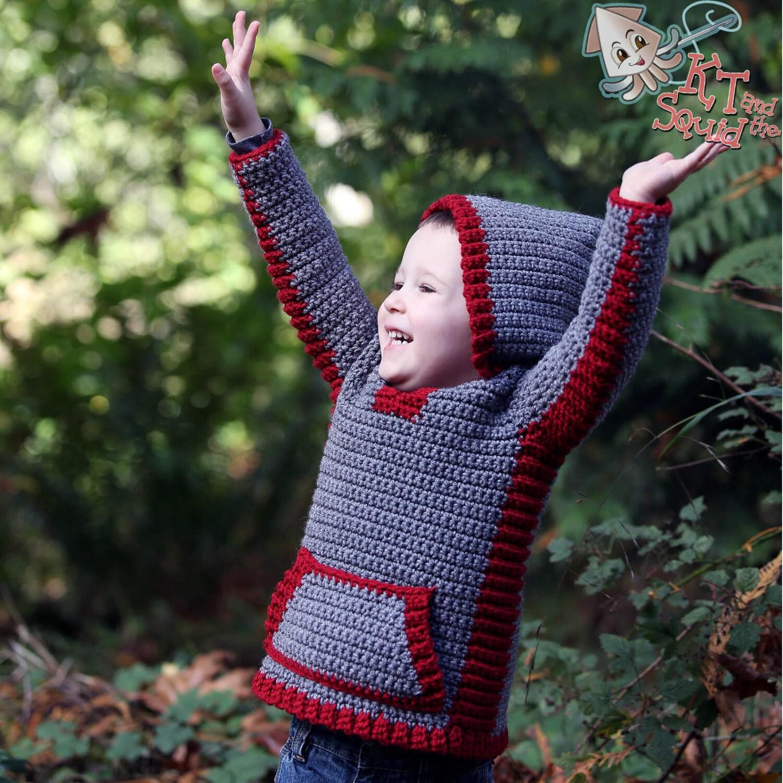Crochet hoodie pattern, crochet childrens sweater, boys hoodie ...