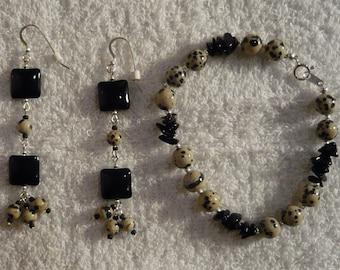 Black Onyx Pillow and Dalmatian Gemstones Earrings - Free Shipping