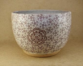 Flower Pottery Bowl, Unique pottery bowl, stoneware pottery bowl, serving bowl, white pottery bowl, matte white pottery bowl, ceramic bowl