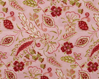 Cotton Quilt Fabric 67 x 44 Pink Red Olive Floral Tracy Porter