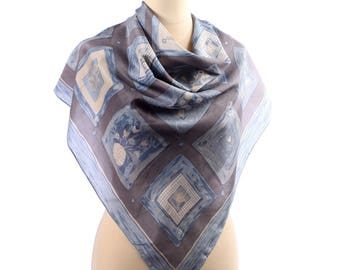 Blue Silk Scarf 80s Vintage Patterned Silk Neck Scarf . Printed Silk Shawl . Abstract Print Neck Scarf . Hand Rolled Edges