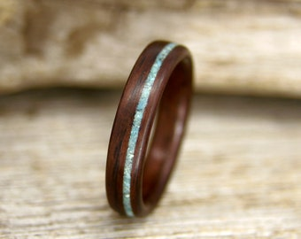 Wood Ring - Size 10 - Indian Rosewood and Turquoise Wooden Ring - Ready to Ship Bentwood Ring
