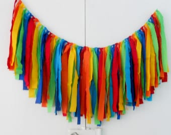 Rag Tie Garland RAINBOW Skittles Crayon Wedding Banner Nursery Garland High Chair Bunting Birthday Party Valance Photo Prop