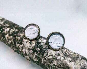 Birch Bark earrings, Birch earrings, White stud earrings, Post earrings, Brass earrings, Rustic wedding, Botanical jewelry, Bark jewelry