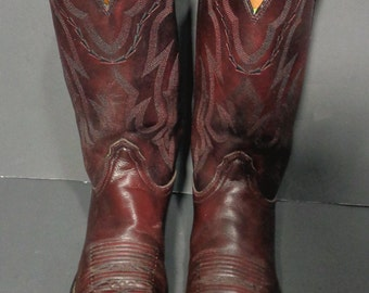LUCCHESE 2000 Cherry Burgundy Leather Cowboy Western Boots Men's Size 9.5 D
