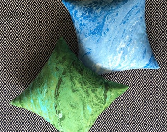 Cushty Cushion Bundle - Two Marble Pillows in Blue / Green and Grey - Handmade by BNTNG