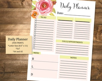 Printable Daily Planner, To Do List, Printable Organizer, Checklist, Watercolor Flowers Daily Planner, INSTANT DOWNLOAD