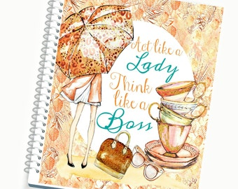 2017-2018 Planner,  BOSS LADY Autumn Girl Cover, Day Planner, Weekly Planner, Spiral Planner, Monthly Planner Organizer, Writing Journal