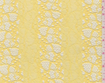 Bright Yellow Floral Stretch Lace, Fabric By The Yard