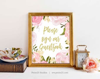 Wedding Sign Guestbook Gold Text, Table Wedding Sign, Pink Rose Peonies Wedding Reception Signage, printable, INSTANT DOWNLOAD