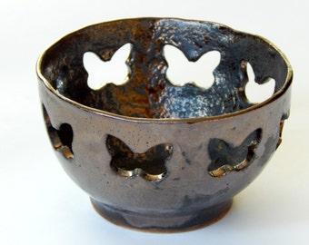ceramic bowl, butterfly, candle holder, tealight holder, decorative, gold bowl, golden candelabr, dark, Black