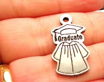Graduate cap and gown charm