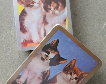 Vintage Playing Cards, Kittens Playing Cards, Cats Playing Cards, Two Decks, Plastic Coated, New Old Stock, Cute Kawaii Zakka Craft Supply