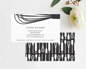 Whisk Business Card, Baker or Catering Chef Business Card, Catering Card - Cook, Chef, Caterer, Square Business Cards, INSTANT DOWNLOAD