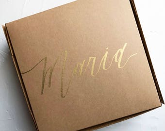 Personalized Calligraphy Kraft Cardboard Gift Box - Bridesmaid and Groomsmen Proposal, Maid of Honor Gift, Welcome, Bachelorette Party