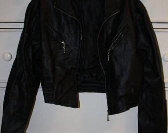 Vintage Black Faux Leather Cropped Jacket