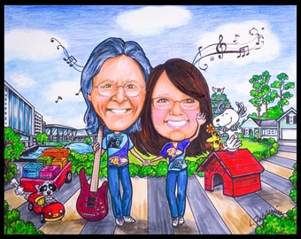 Custom caricature, valentine caricature, retirement women, retirement men, retirement party, Beatles, portrait caricature, portrait cartoon,