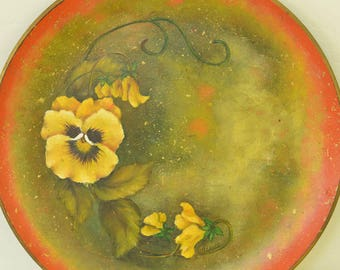 Hand Painted Pansy Plate, Pansies