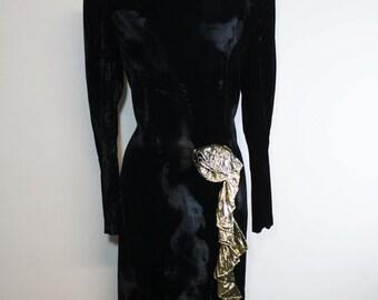 1980s velvet dress / black gold dress / elegant eveving dress / eighties night out dress