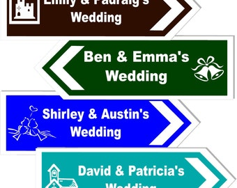 Personalised Wedding Direction Sign 17x6 Inches Choice of Style & Colour Directional Sign