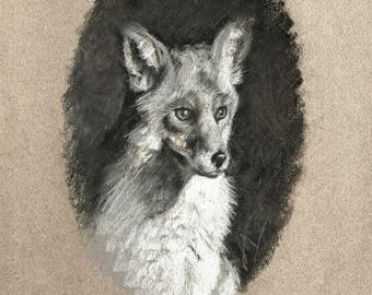 Original Charcoal Drawing of a Fox Wildlife Art