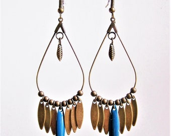 Dangle drop earrings and peacock blue navette