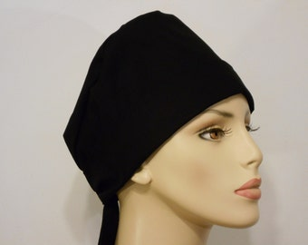 Scrub Hat Medical Style Pixie Tie Back- Solid Black