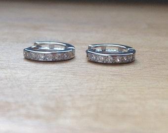 Classic platinum plated, crystal-lined hoop earrings