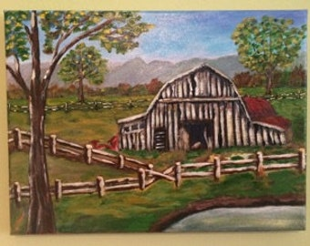 "Fenced In Barn Original Painting by Rose Dean 9"" x 12"" Canvas Artwork"
