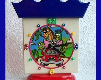 Handmade, Childrens Tabletop Clock, Wood burn design, Nursery Clock, Unique Gift, Battery Operated